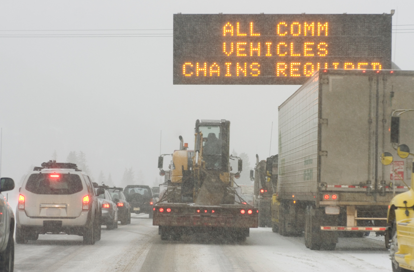 Chains Required Sign