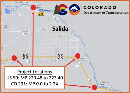 US 50 & CO 291 Salida ADA Ramp Project Map