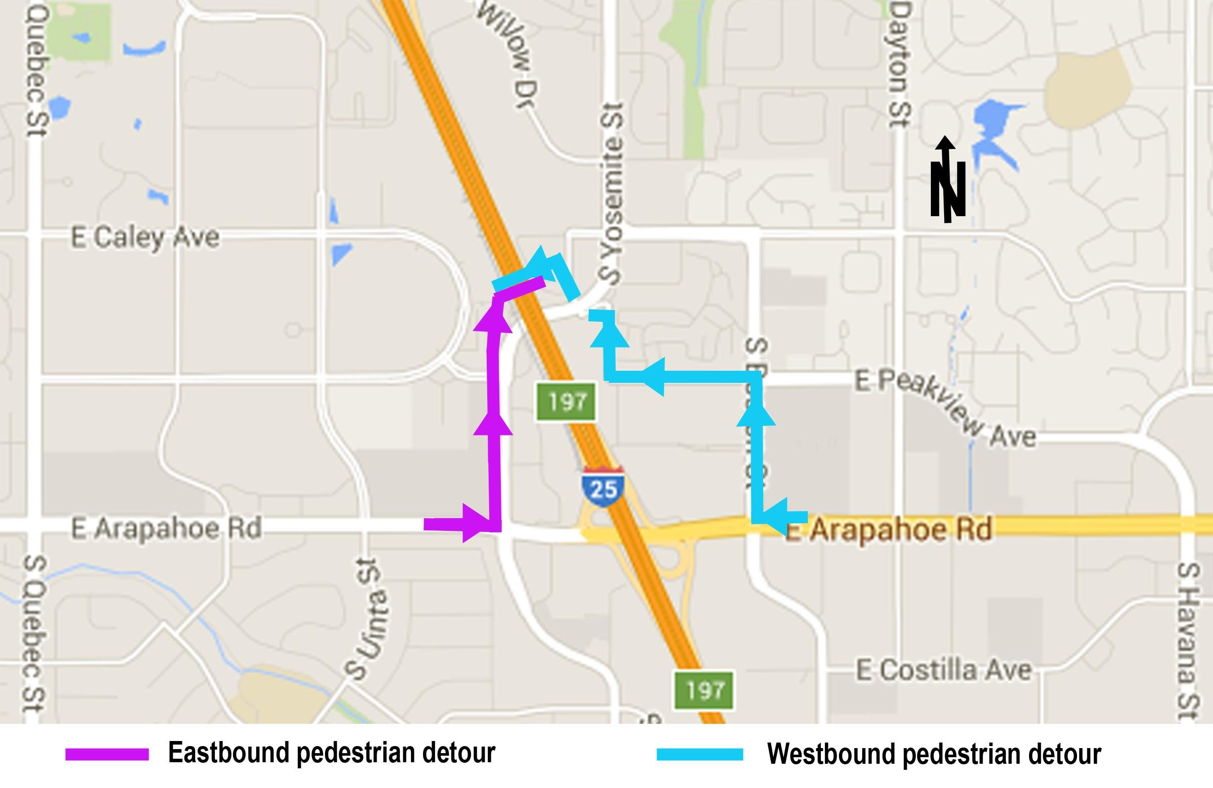 Arapahoe and I 25 Pedestrian Detour