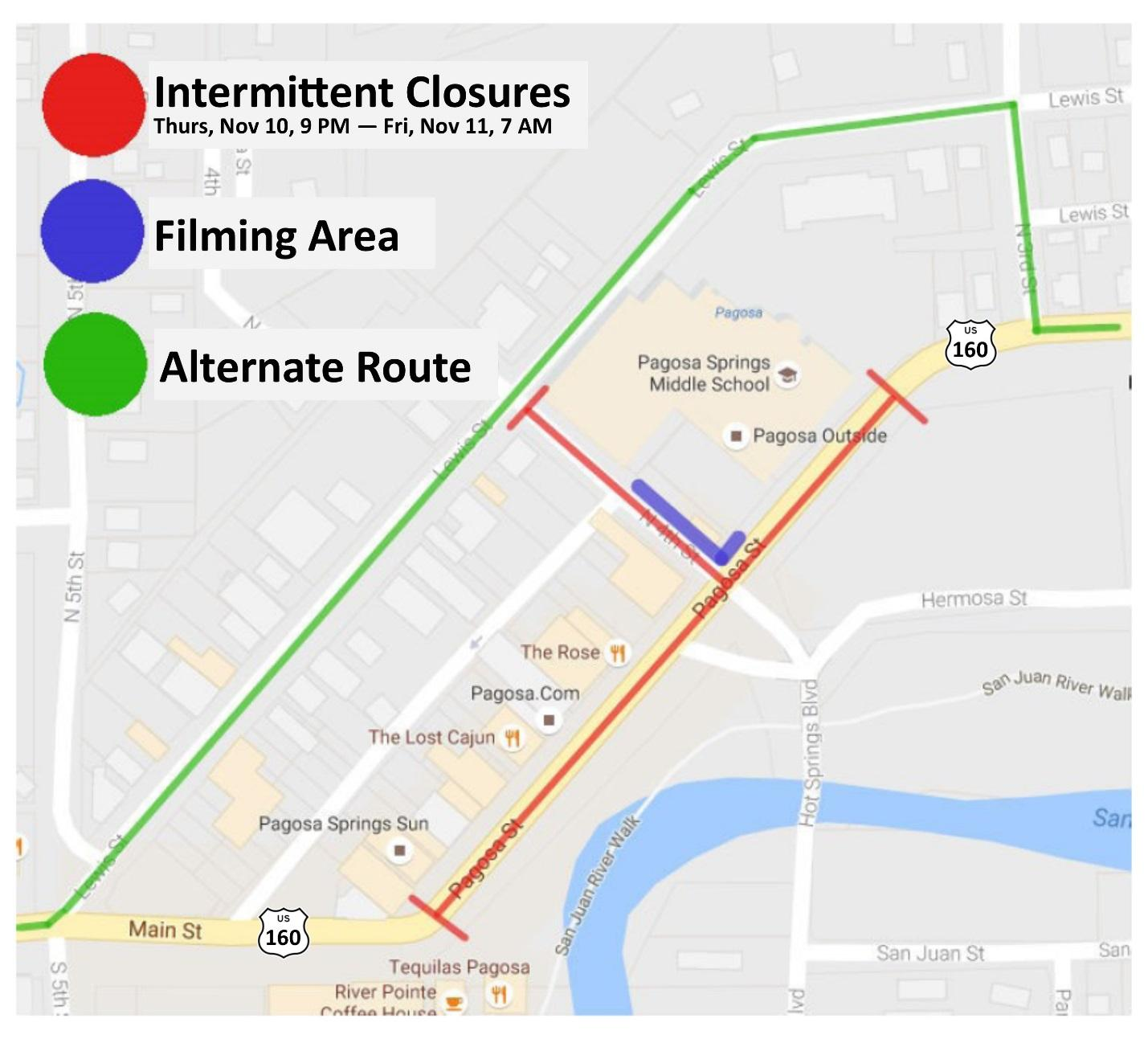 Travel Alert: Film Production to Take Place Along US 160  in Downtown Pagosa Springs
