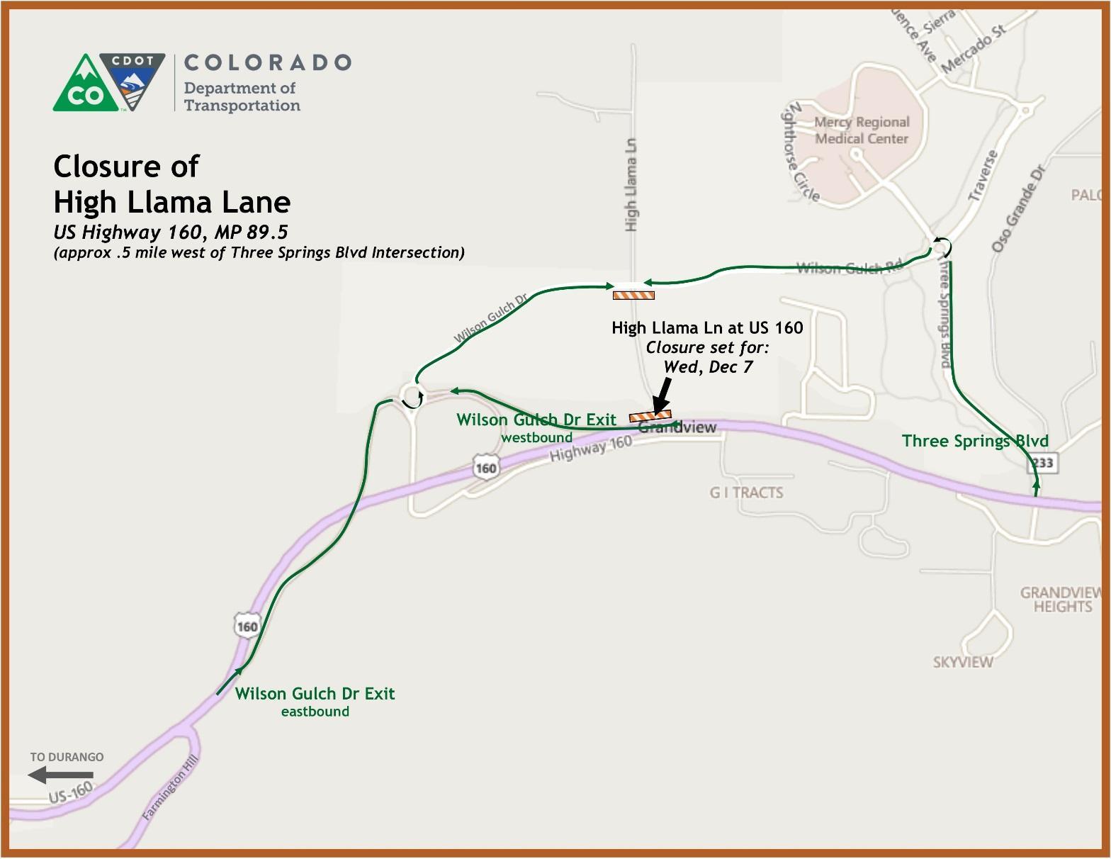 High Llama Lane Closure