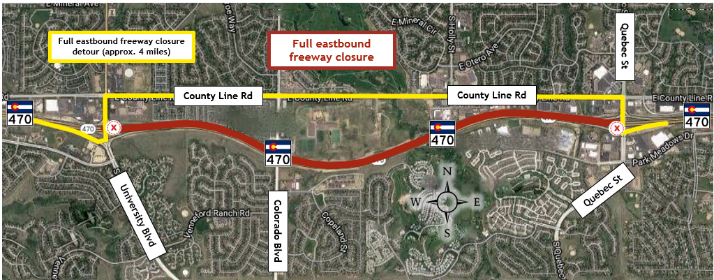 Closure of eastbound C-470 from University Boulevard to Quebec Street