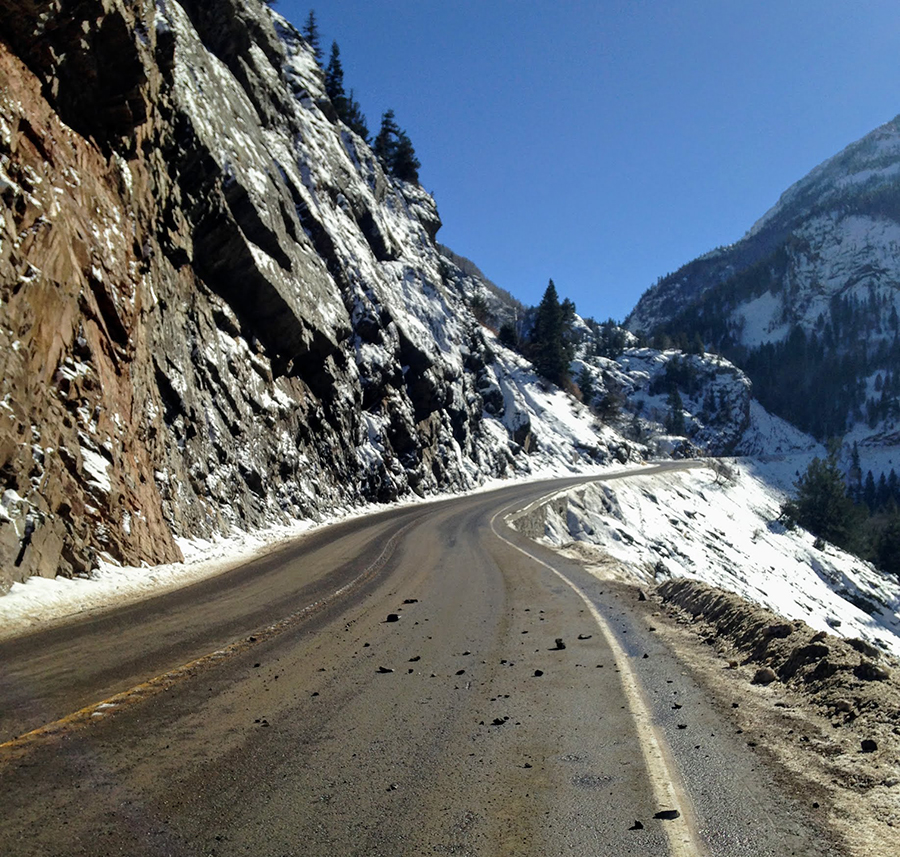 Steep slopes cliff walls US 550 Red Mountain Pass