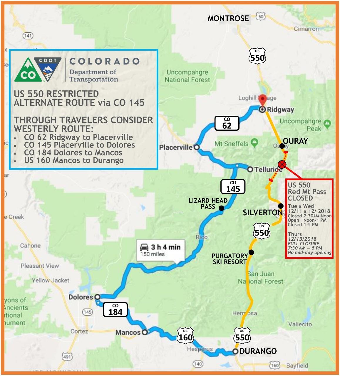 US 550 Restriction Map