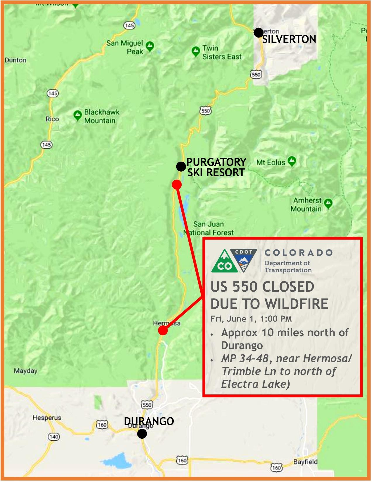 US 550 Closed due to Wildfire