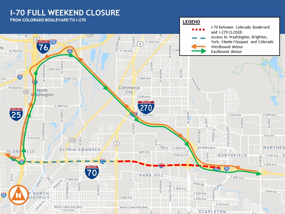 I-70 Weekend Closure Detour Map