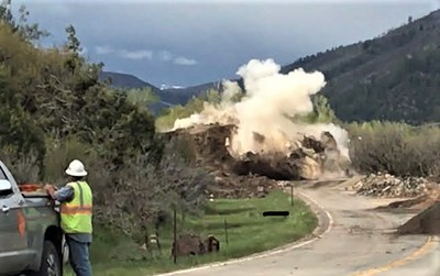 A crew successfully blasted one of the two massive boulders that destroyed a section of Colorado Highway 145 between Cortez and Telluride.