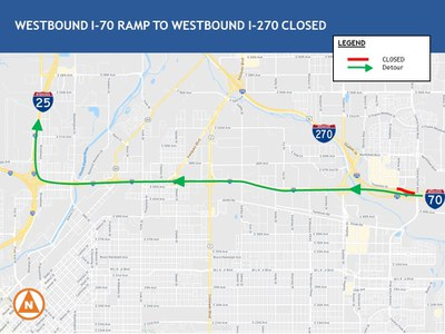WB I-270 Ramp Closure Map