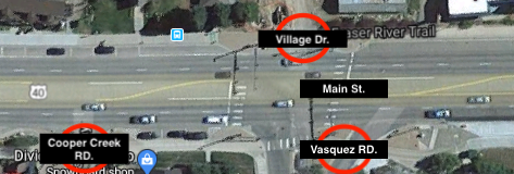 Village, Vasquez and Cooper Intersections