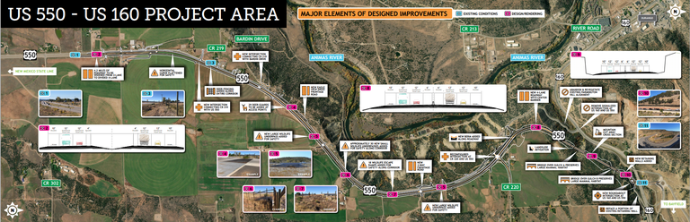 US 550 Durango Work Zone Map