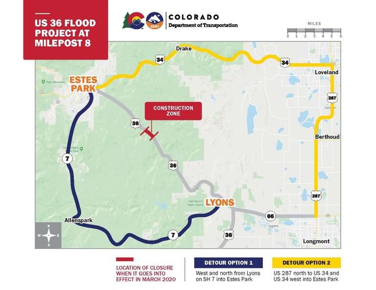 US 36 Milepost 8 Project Detour Map
