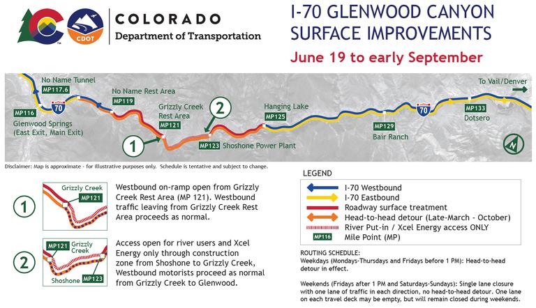 I-70 Glenwood Canyon June - Sept 2020 Map