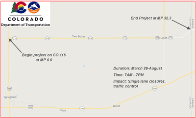 CO 116 Two Buttes Work Zone Map
