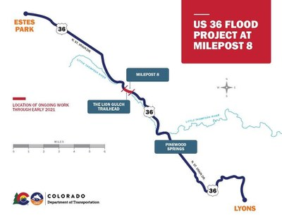 US 36 Flood Repairs project between Lyons and Estes Park, milepost 8 MAP