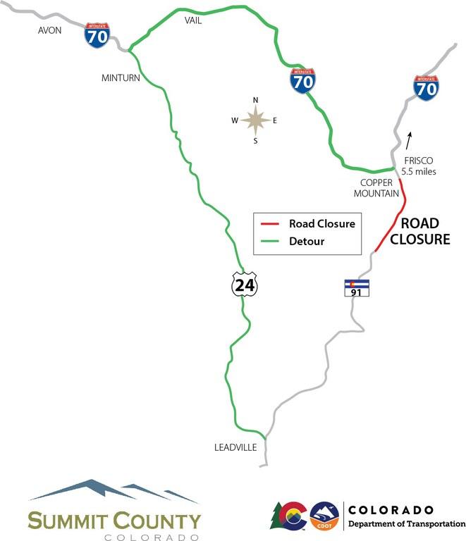 CO 91 Detour Map