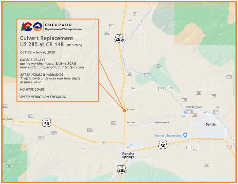 US 285 Culvert Replacement Map