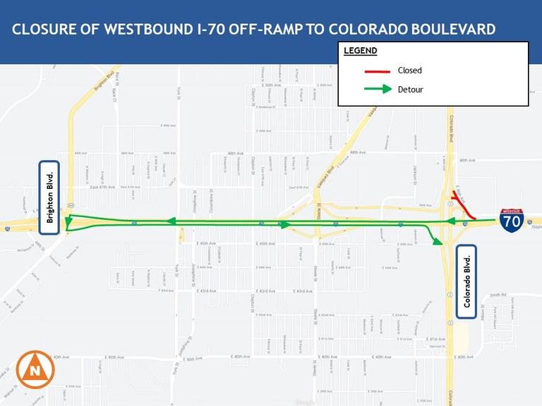 WB I-70 To Colorado Blvd. Map