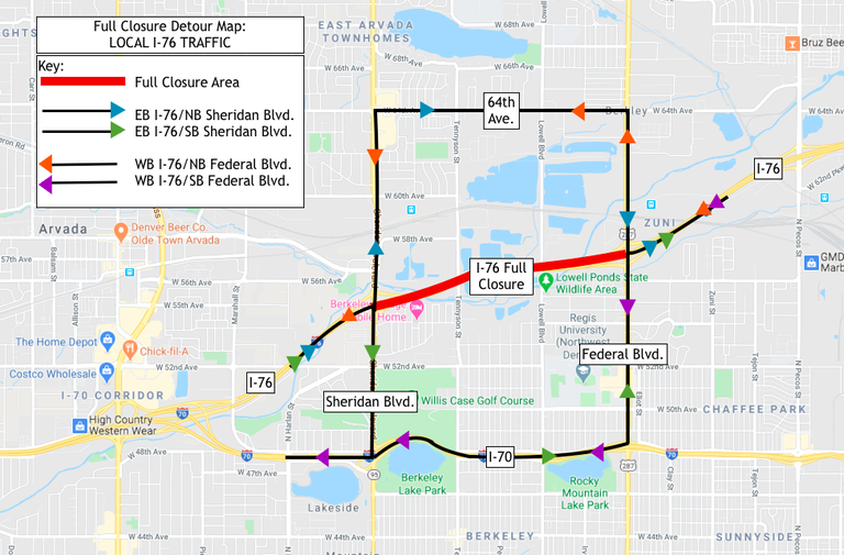 Local I-76 Traffic Detour Map