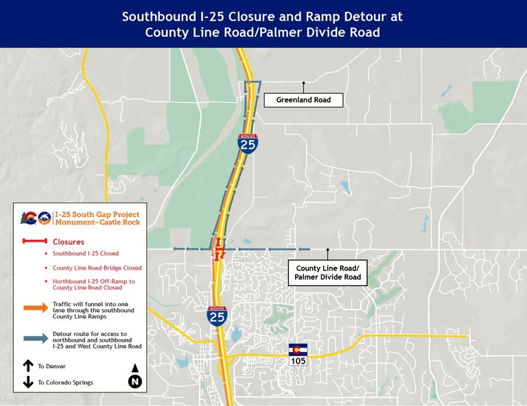 SB underpass and ramp closures map