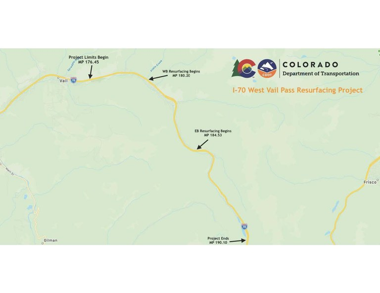 I-70 West Vail Pass map