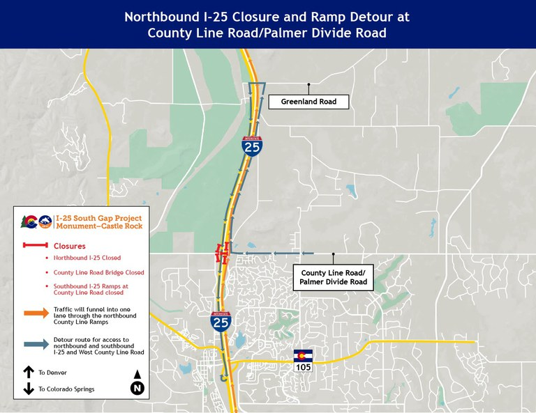 South Gap NB underpass and ramp closures map