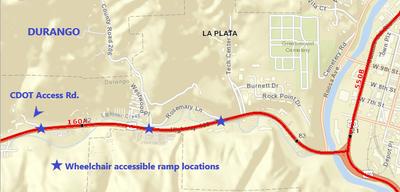 US 160 West of Durango Map