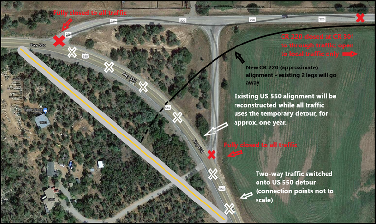 US 550 CR 220 Connection Closure Map