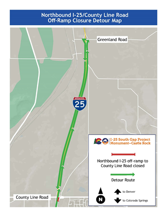 northbound i-25 detour map