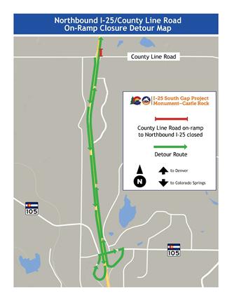 Southbound I-25 Detour Map