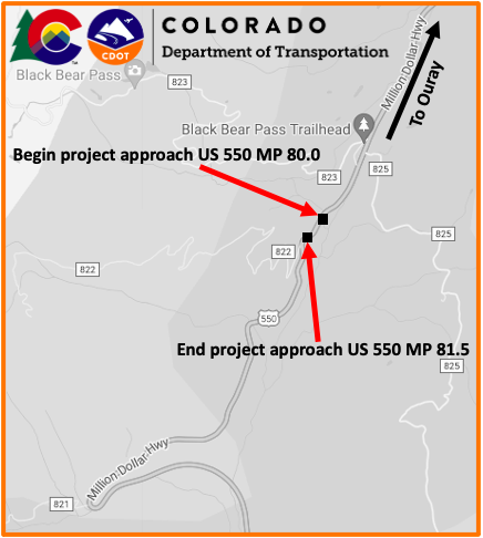 US 550 Culverts Project Map