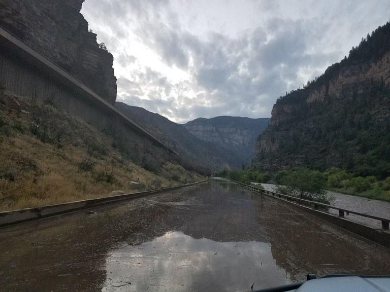 Mudslide on I-70 - flooded road
