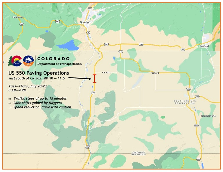 US 550 S. of Durango Paving Project Map