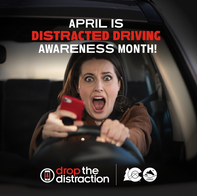Distracted driving woman