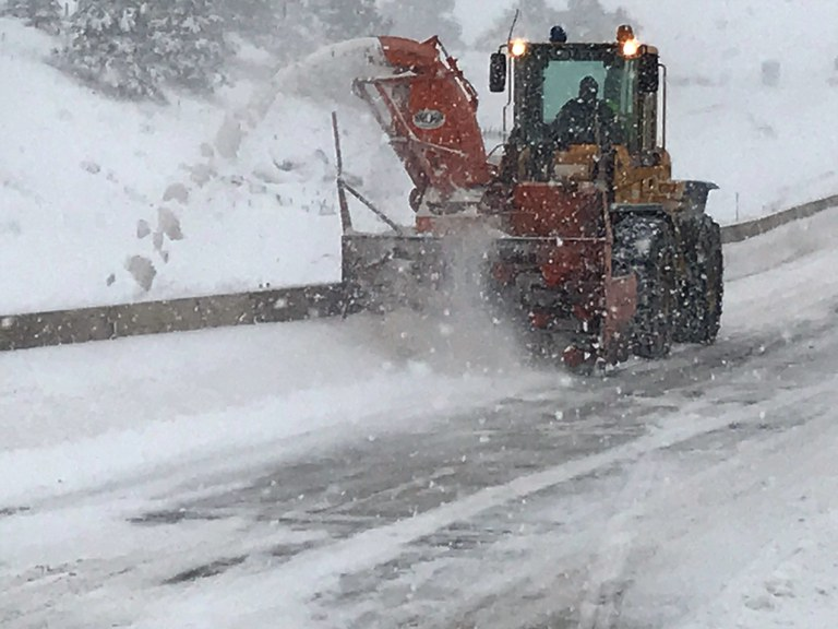 I-25 Monument Hill Snow Removal plow