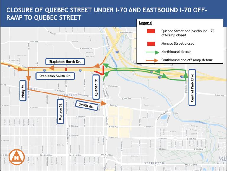 I-70 & Quebec Closure Map