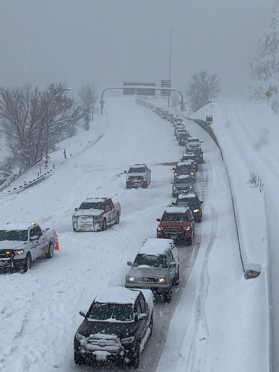 Traffic on I-70 Floyd Hill on March 14