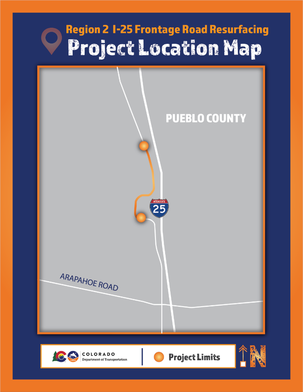 Region 2 I-25 Frontage Road Resurfacing Project Map