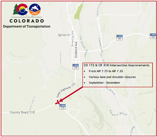 CO 172 CR 318 intersection Map Al