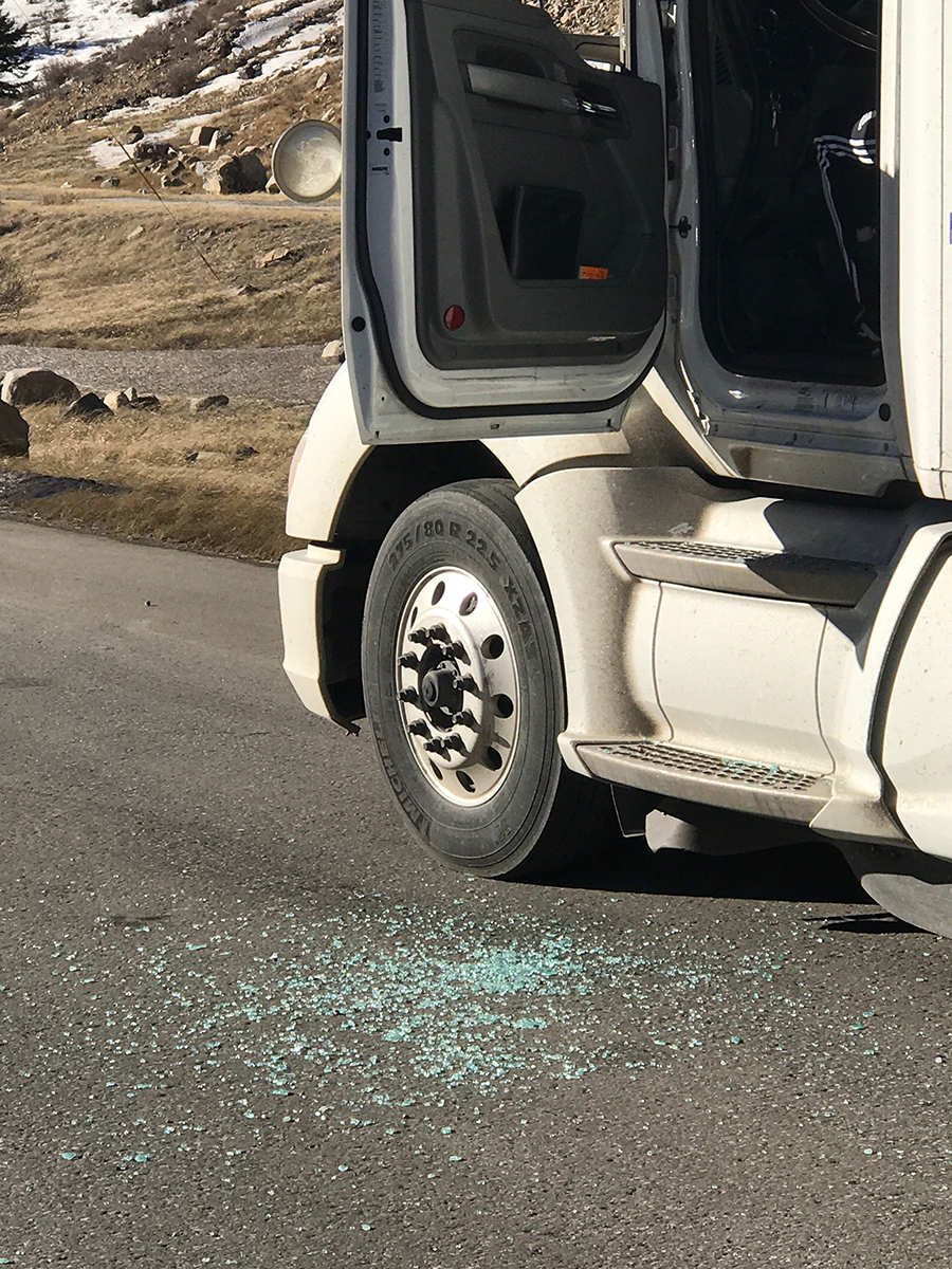 Shattered glass from a semi window following a high wind advisory on the I-70 Mountain Corridor, Friday, Feb. 10, 2017