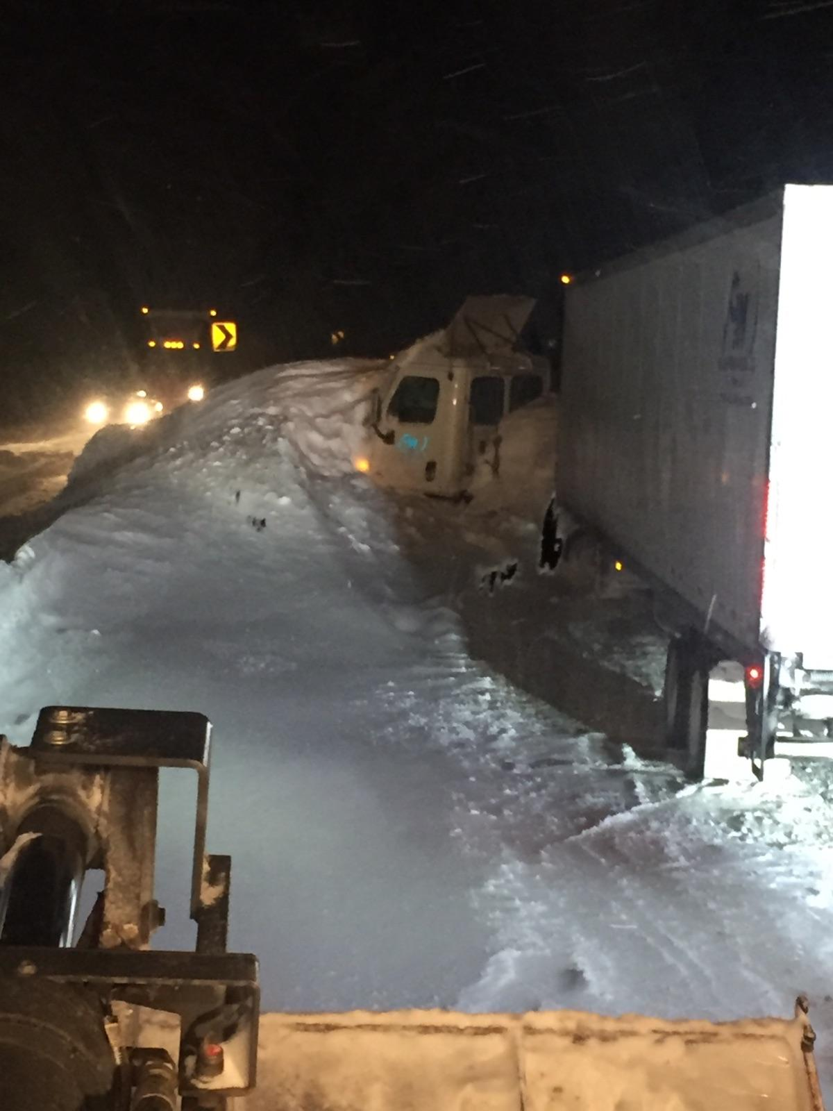 Semi stuck in slide path on westbound I-70