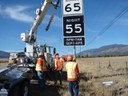 CDOT crews install the first Wildlife Zone signs on US 24, north of Buena Vista. thumbnail image