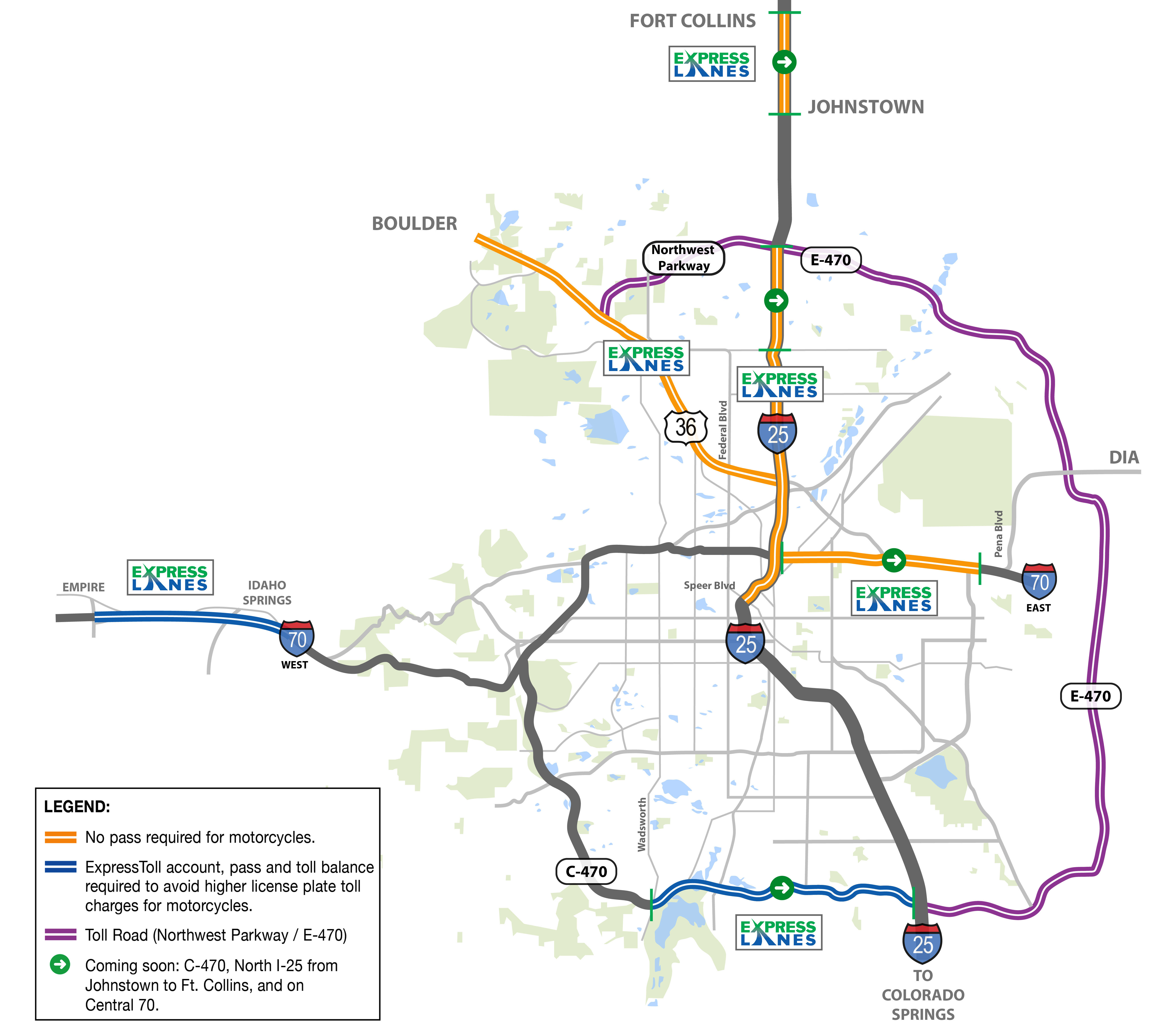 Motorcyclists Express Lanes Map