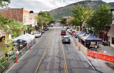 biker admiring new bike lane in Durango