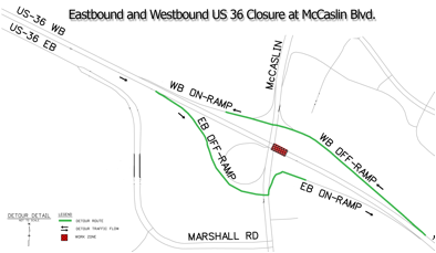US 36 at McCaslin Blvd Detour detail image