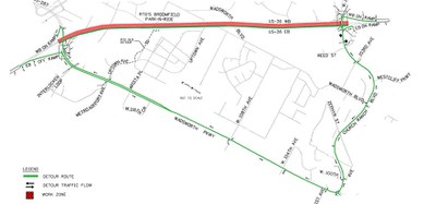 Detour for March 8-14, 2015, closure from Wadsworth Parkway to Church Ranch Boulevard.