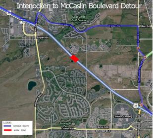 US 36 Between Interlocken and McCaslin Detour detail image