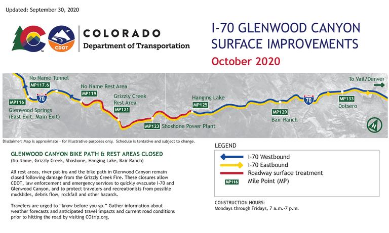 I-70 Glenwood Canyon Surface Improvements Work Zone