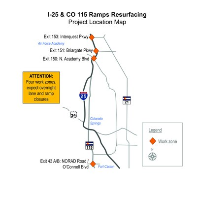 I-25 CO 115 project map
