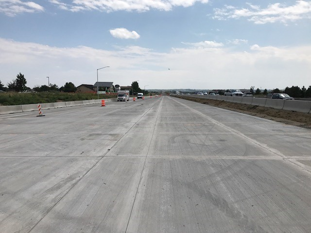 new i-25 roadway, looking south