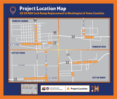 US 34 Curb Ramp Project Map